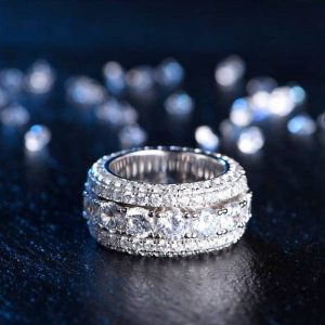 Aporro Iced Out Band Rotating Ring