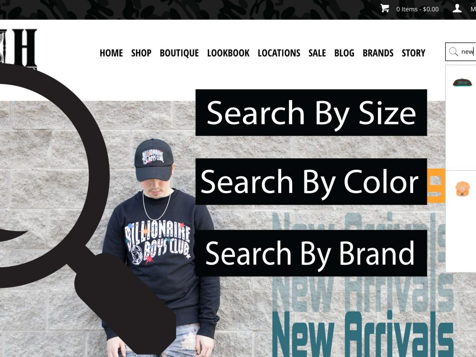 search by brand or size