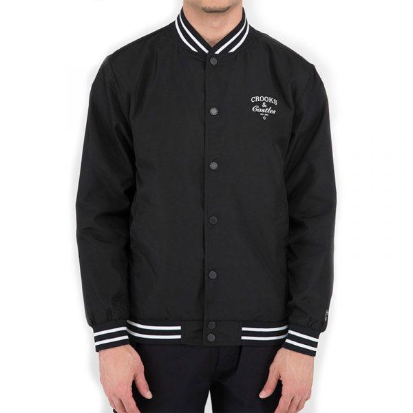 crooks and castles stadium jacket black