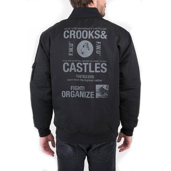 crooks and castles headlines bomber jacket black back