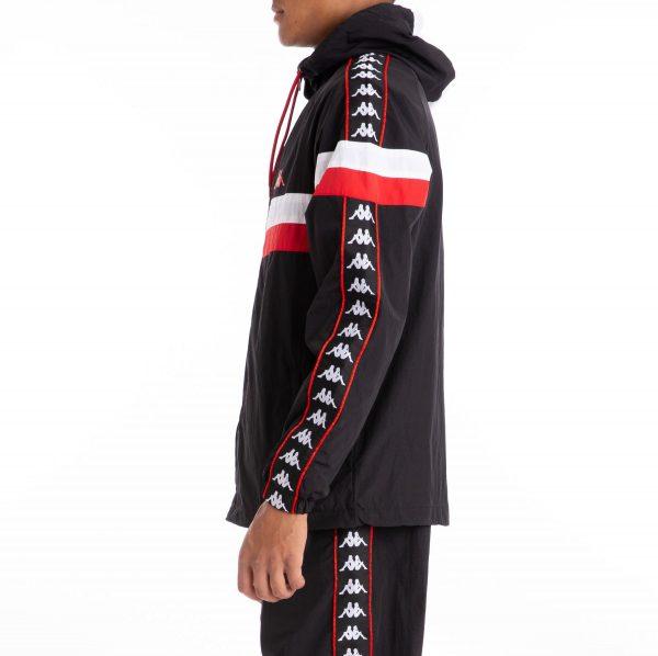 kappa banda bellagio hoodie black red side