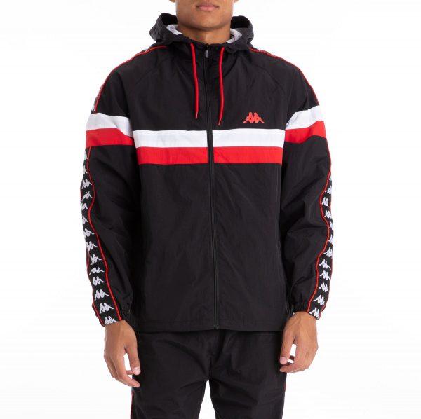 kappa banda bellagio hoodie black and red