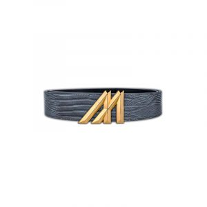mint gray lizard belt with gold buckle