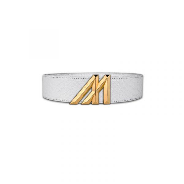 mint white anaconda belt with gold buckle