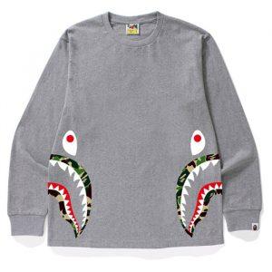 bape side shark abc camo grey long sleeve front