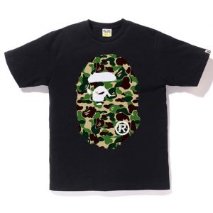 Bape Ape Head ABC Green Camo F/B Tee black
