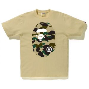 Bape Ape Head Yellow Camo F/B Tee