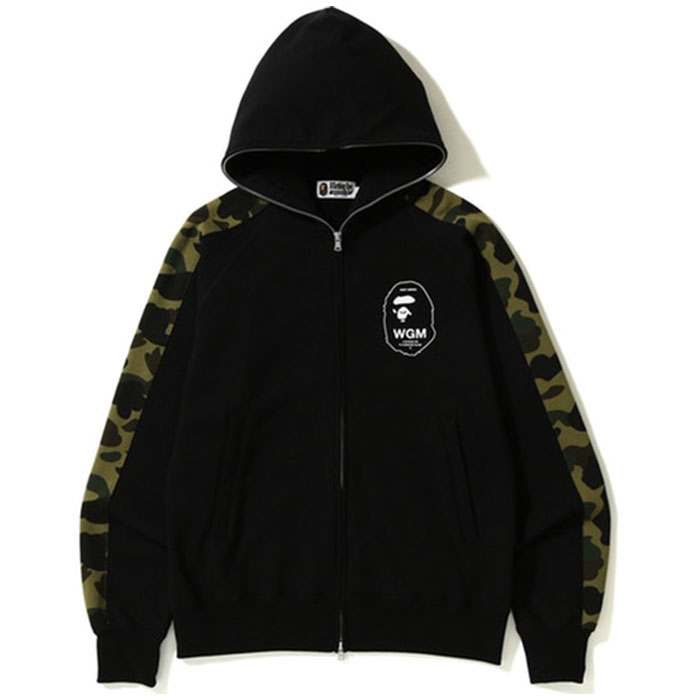 Bape Green Camo Line Full Zip Hoodie black