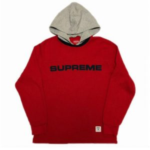 supreme waffle ringer hoodie red