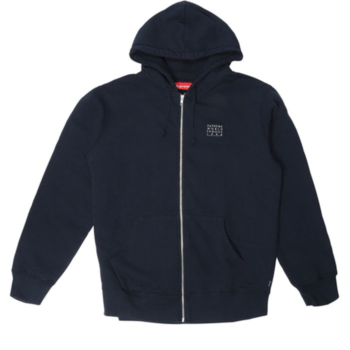 supreme world famous zip hoodie