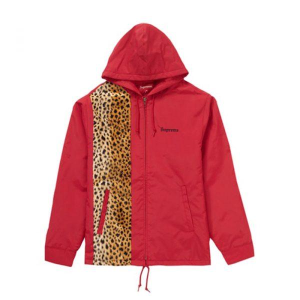 Supreme Cheetah Hooded Station Jacket Red