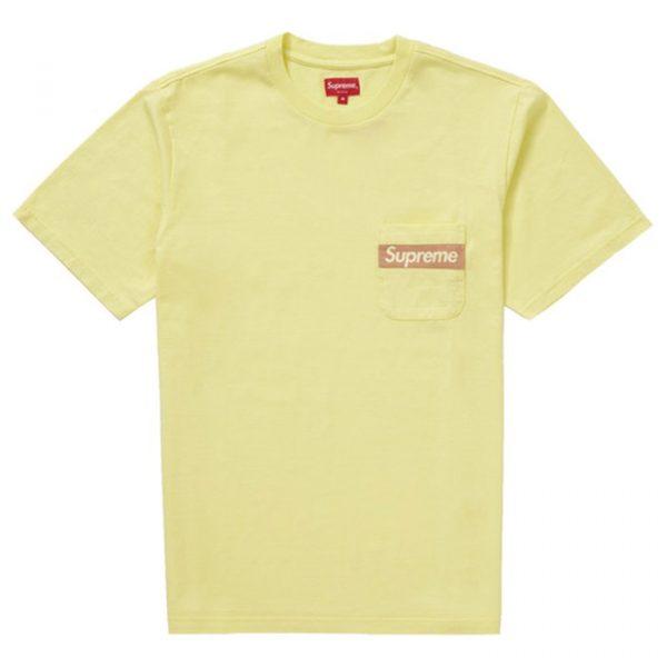 Supreme Mesh Stripe Pocket Tee Pale Yellow