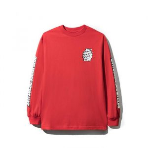Anti Social Social Club Block Me L/S Tee Red