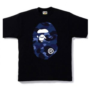 BAPE Ape Head Blue Camo FB Tee Black