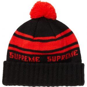 supreme classic stripe beanie black