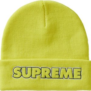 supreme outline beanie bright yellow front
