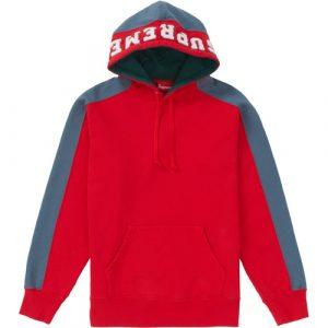 supreme paneled hooded sweatshirt red