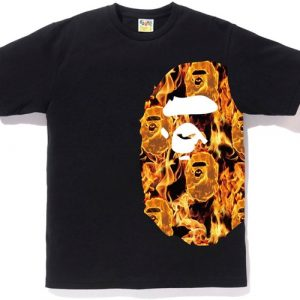 Bape Side Ape Head Orange Flame Tee
