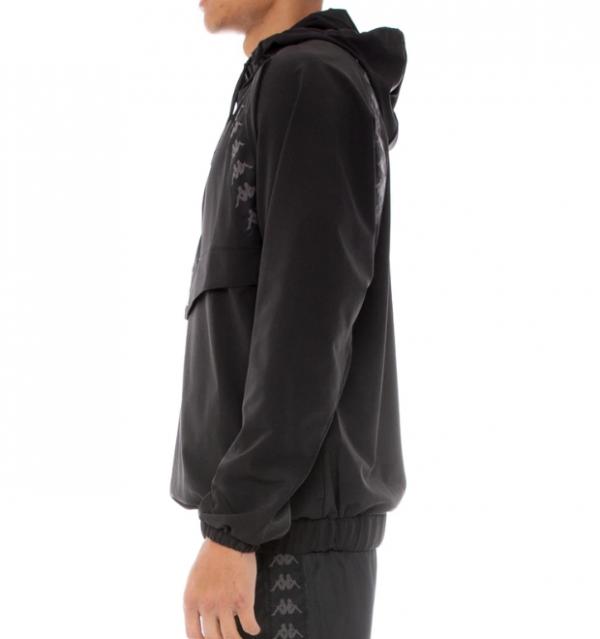 kappa authentic bakit anorak jacket black white back