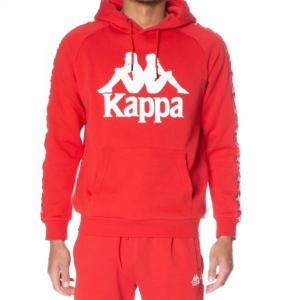 kappa authentic hurtado hoodie red blaze white antique front