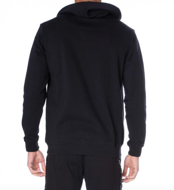 kappa authentic zimm hoodie black white back