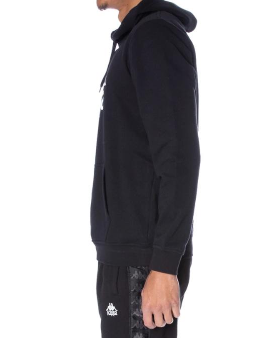 kappa authentic zimm hoodie black white side look