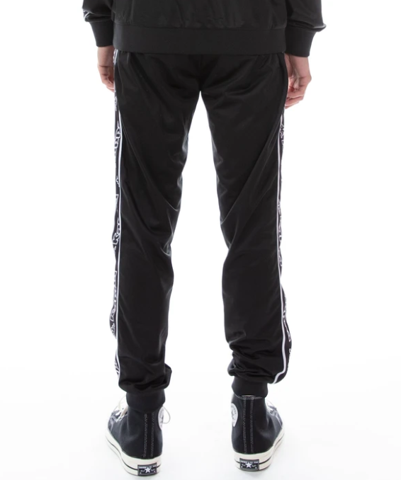 kappa logo tape alic pants back black white back