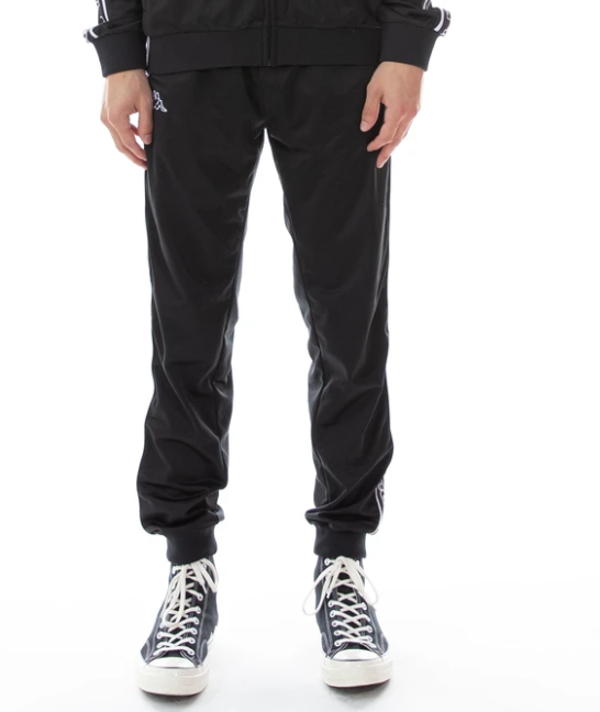 kappa logo tape alic pants back black white front