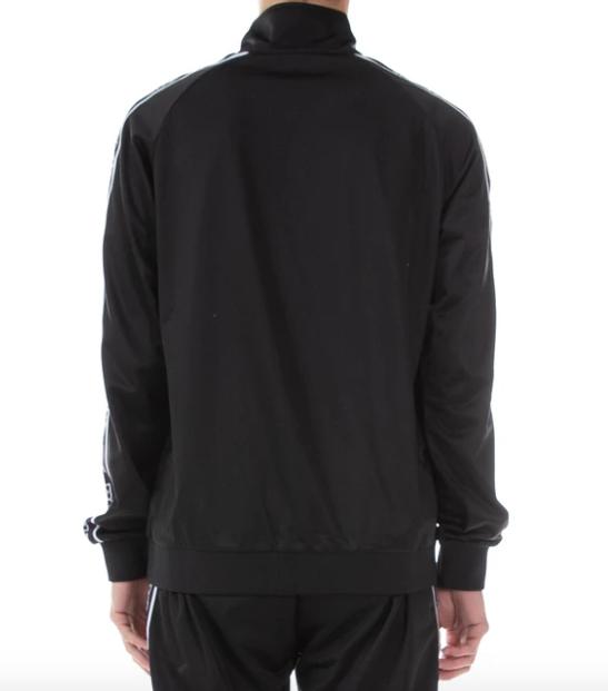 kappa logo tape artem track jacket black white back