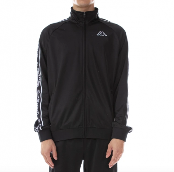 kappa logo tape artem track jacket black white front