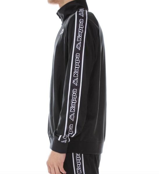 kappa logo tape artem track jacket black white side