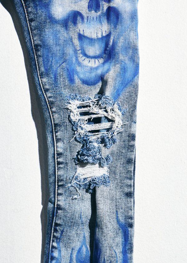crysp denim blue flames knee