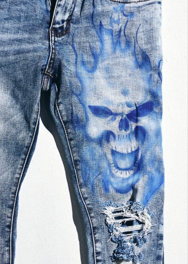 crysp denim blue flames thigh